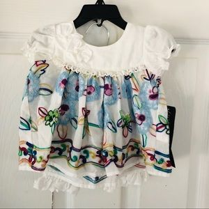 NWT colorful embroidered floral 2 piece out SZ 3M